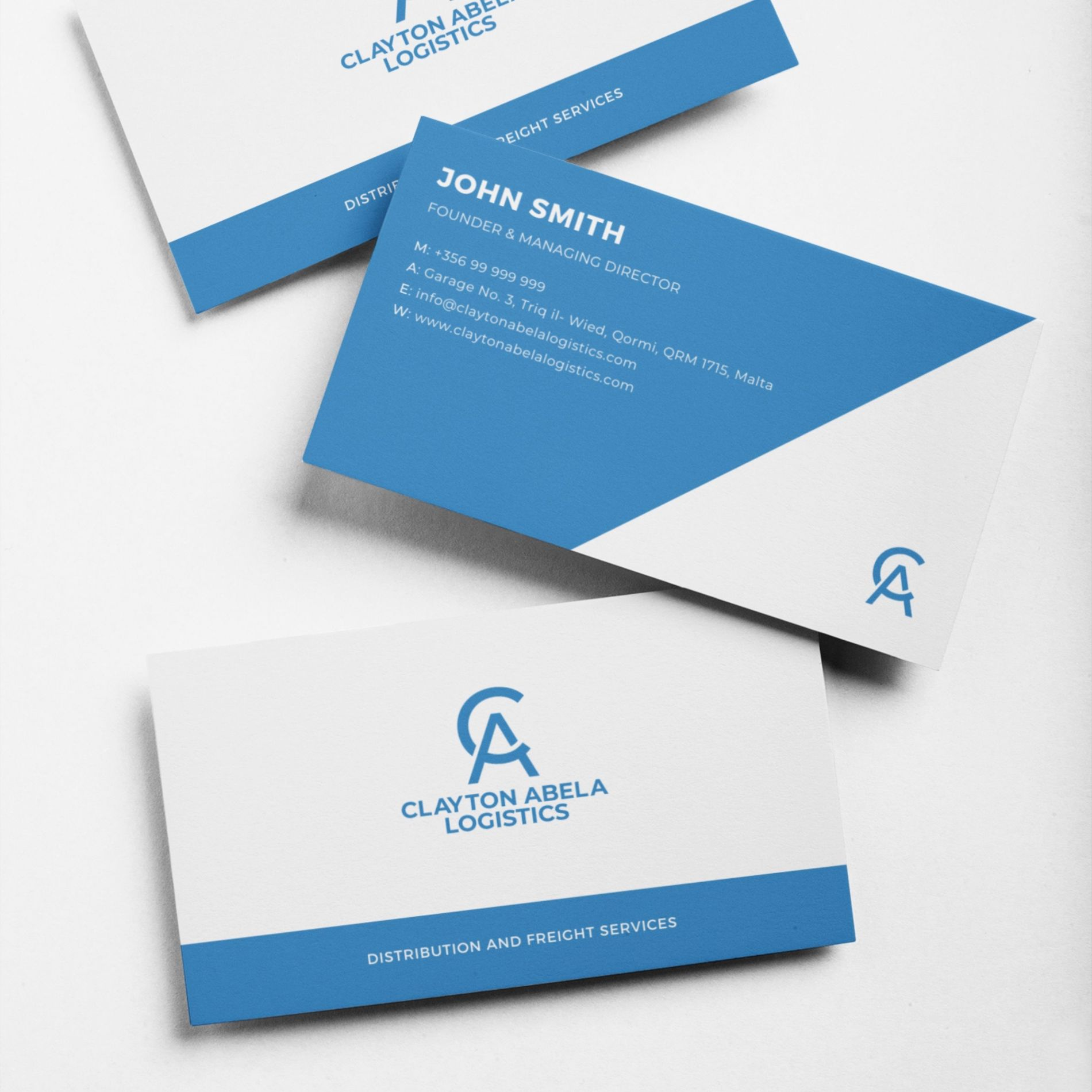Bullshark designed business cards for Clayton Abela Logistics